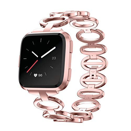 XIALEY Pulseras Compatible para Fitbit Versa 2 / Fitbit Versa Correa De Acero Inoxidable Mujeres Niñas Metal Loop Watch Banda Reemplazo Brazaletes Deportiva Repuesto,Rose Pink