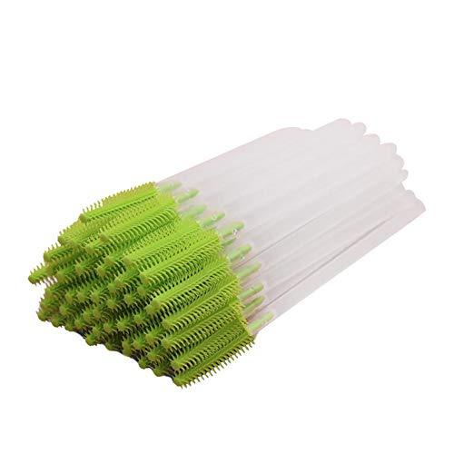 CyFe Lot de 50 baguettes jetables pour mascara, applicateur de cils, appareil de maquillage pour extension et lifting des cils - Tige transparente (vert)