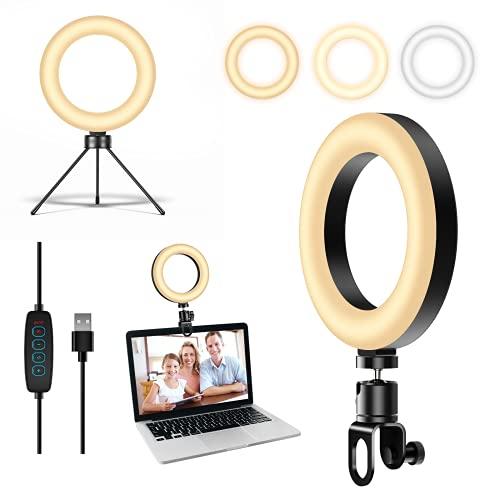 """LED Ringlicht mit Stativ mit Clip,Foonii Laptop Beleuchtung Licht 6"""" Ringleuchte USB Dimmbare 3 Modi 10 Helligkeitsstufen für Videokonferenzen Fotografie/Make-Up/You Tube/Live Streaming/TikTok"""
