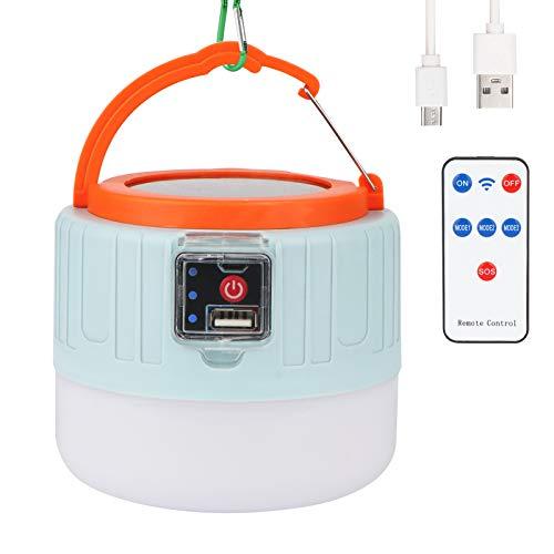 OVAREO Linterna de camping, luz LED recargable por energía solar/USB, 4400 mAh lampara portátil con mando a distancia, IP65 resistente al agua, para Pesca, Montaña, Excursión, Jardín, Patio