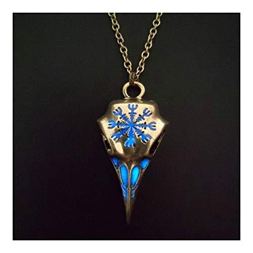 FKJSP Collar Pendiente de la Vendimia en Color Cobre Punk tótem del Cuervo cráneo en la Oscuridad Hombres de Las Mujeres Collar de Cadena de joyería (Metal Color : Copper Blue)