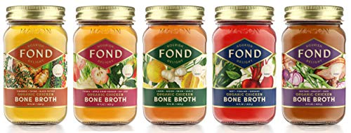 FOND Bone Broth, Certified Organic Chicken Bone Broth Mixed Variety Pack - (5 Pack) Sipping Broth, Gourmet,15oz Glass Jars, 20g Protein, 0g Sugars, Low Carb, Keto, Paleo, Whole 30 Friendly