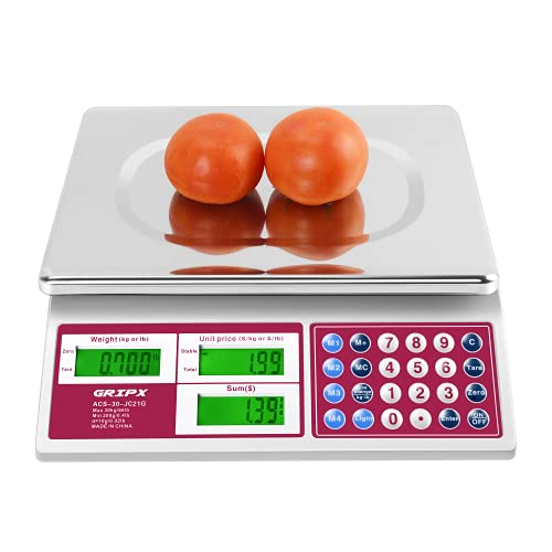 GRIPX Digital Commercial Price Scale 66 lbs for Food Meat Fruit Produce with Backlight LCD Display Stainless Steel Platform Battery Included, Not for Trade