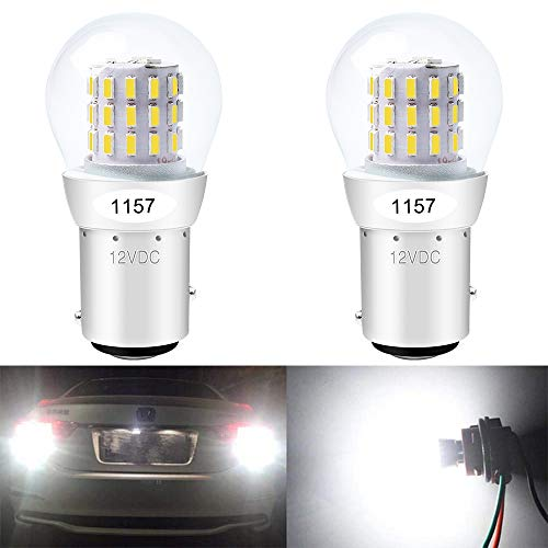 ALOPEE - 2-Pack 12-15V Extremely Bright White 1157 2057 2357 7528 BAY15D 39SMD LED Bulbs Replacement for Halogen lamp Back Up Reverse Lights or Tail Brake Lights Side Marker Interior RV Camper Light