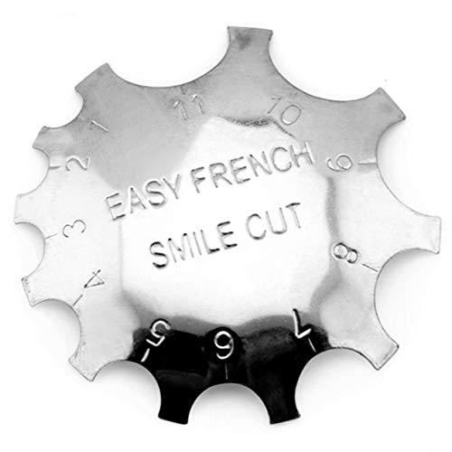 Plantilla de cortador de bordes de línea de manicura fácil de belleza de acero inoxidable Forma de uñas postizas Cortador de sonrisa de uñas Cortador de uñas francés-Plata BCVBFGCXVB
