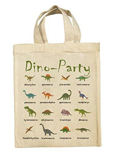 clothinx Lustige Kindergeburtstag Tasche Mitgebsel-Beutel im Set mit Geburtstag-Motto Dinosaurier Dino Party 10er Pack