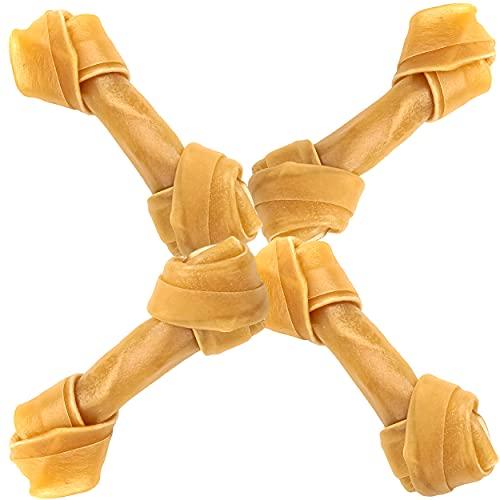 Hueso Nudo para Perros Delicioso Snack para Perro en Forma de Hueso Antiestrés y fortalecedor de Dientes 100% Piel de Vaca 16,5cm 4piezas