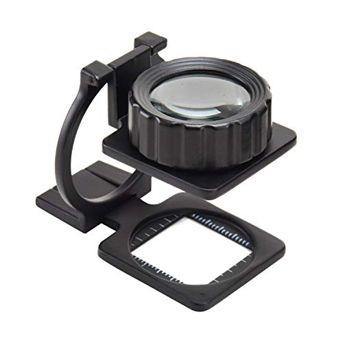 Mufly Tuch-Vergrößerungsglas mit Maßstab, faltende Lupe,15X Verstellbarem Lupe für Brillenträger, Lesen, Nähen, Handwerk, Juweliere, und Reparatur(15 Dioptrien)