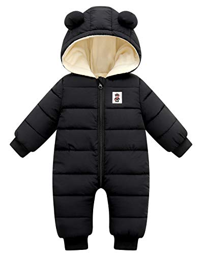 Happy Cherry Toddler Baby Warm Romper One-Piece Winter Coat Zipper Long Sleeve Cute Snowsuit Hoodie Jumpsuit Puffer Jacket for Girls Boys 6-12 Months Black