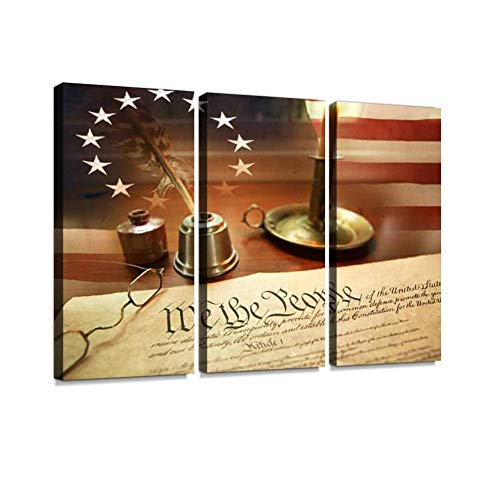 US Constitution with quill Pen, Glasses, Candle, Ink and Flag Print On Canvas Wall Artwork Modern Photography Home Decor Unique Pattern Stretched and Framed 3 Piece