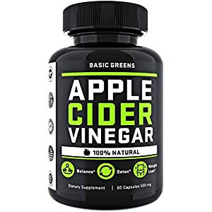 Apple Cider Vinegar Capsules – ACV Capsules Appetite Suppressant – Supplement for Women (60 Capsules) Formulated in USA | Non-GMO | Gluten Free by BASIC GREENS