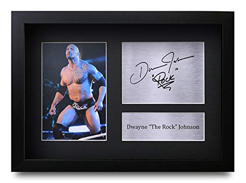 HWC Trading Dwayne Johnson A4 Gerahmte Signiert Gedruckt Autogramme Bild Druck-Fotoanzeige Geschenk Für The Rock Filmfans