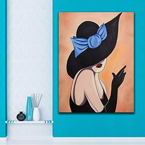 UHvEZ Dama con Sombrero_Puzzle de Madera para Adultos 1000 Piezas_Decoración de Juguetes de Arquitectura de Paisaje Sala de Alivio de presión de Vida Adulta_50x75cm