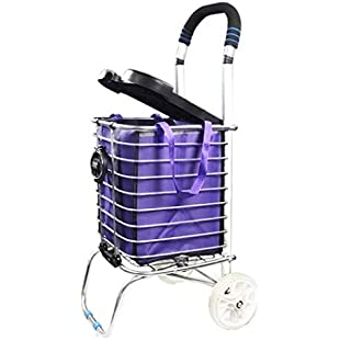Customer reviews Climbing Shopping Cart Collapsible Portable with Lid Trolley (Color  Silver, Size  2 wheels)