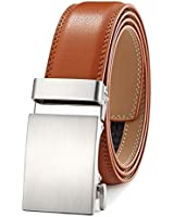 Men's Belt Ratchet Dress Belt with Automatic Buckle Brown/Black-Trim to Fit-35mm wide-400-110-TAN