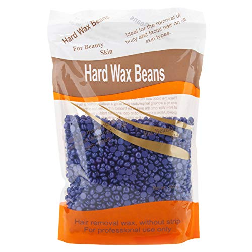 Bonjanvye Hard Wax Kit Hair Removal Wax Kit Hard Wax Beans Kit Prime 300g (Glitter Blue and Purple)