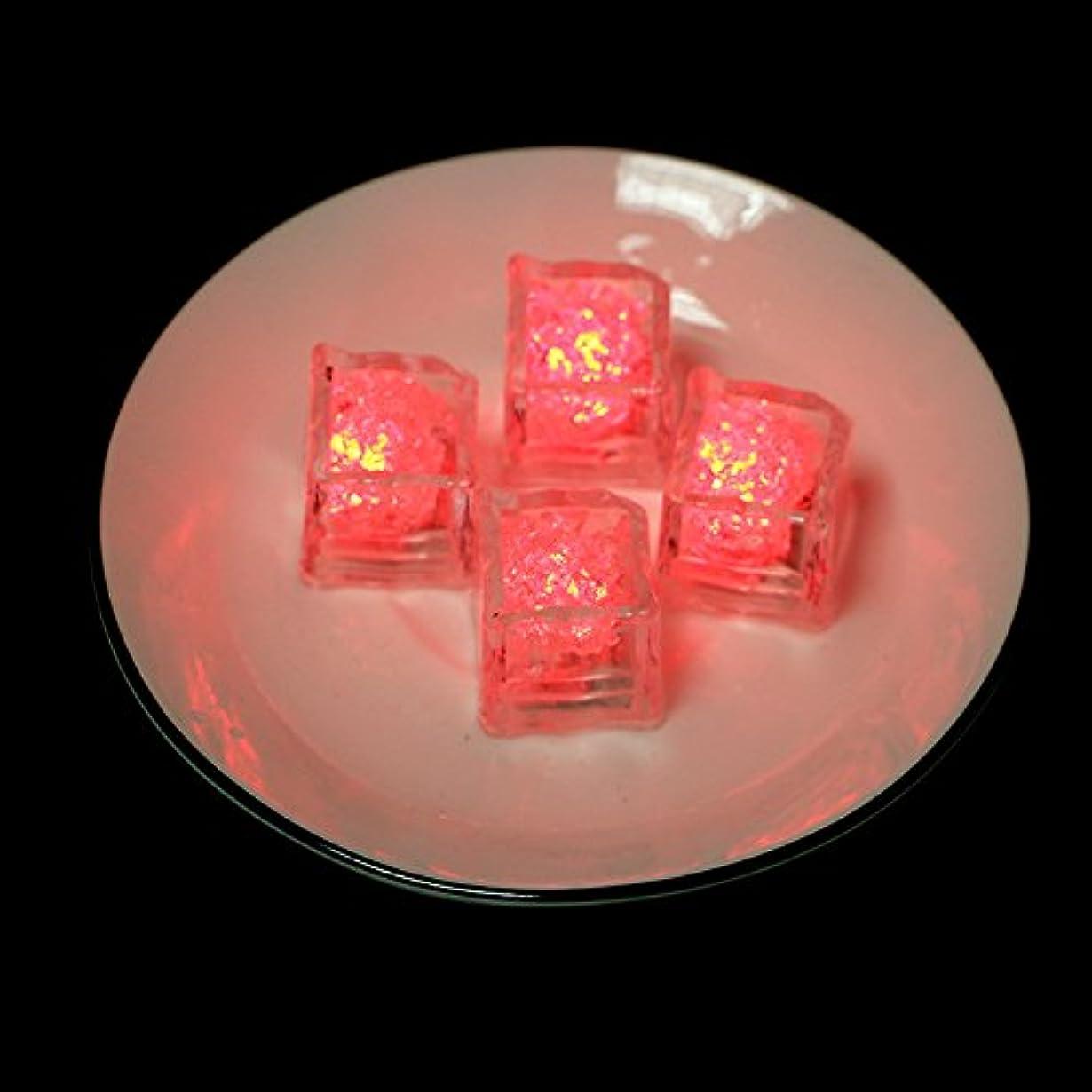 スロー人事証言ThreeCat キューブライト アイスライト 12個セットキューブアイス 光る氷 LEDセンサーライト 溶けない氷カラフル 防水 飾るライト マルチカラー 結婚式 忘年会 パーティークラブ シャンペンタワー size 12pcs (赤い色)