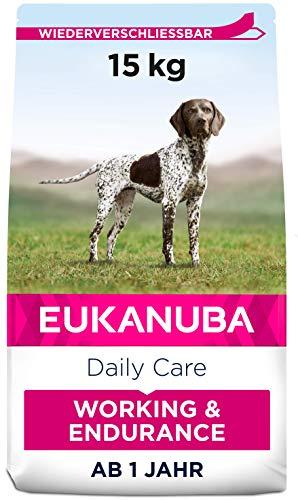 Eukanuba Working & Endurance Trockenfutter für Hunde mit hohem Energiebedarf (Arbeitshunde, Jagdhunde, trächtige & säugende Hündinnen), Hundefutter mit hohem Gehalt an Protein & Fett, 15 kg