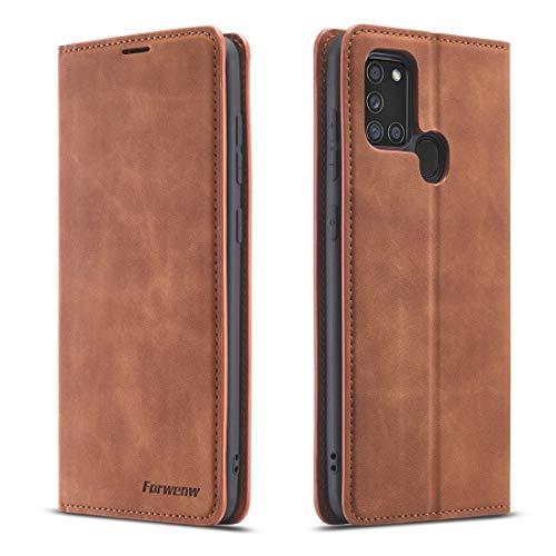 Byr883onJa Funda para smartphone Samsung Galaxy A21s Dream Series Oil Edge Strong Magnetismo Horizontal Flip Funda de piel con soporte y ranuras para tarjetas, cartera y marco de fotos (color marrón
