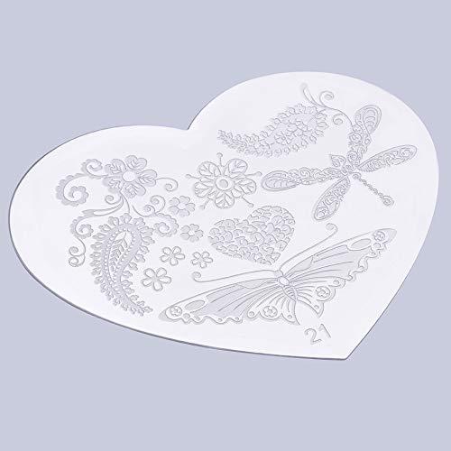 Forme de coeur Nail Art Impression Plaque Image Estampage Plaques Modèle de Manucure créer de beaux designs d'ongles Vente Mondiale Populaire - Argent