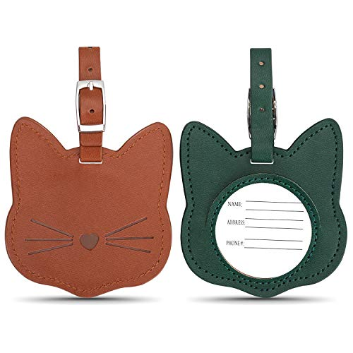 Luggage Tags, Personalized Leather Luggage Identification Tags, Cat Suitcase Tags Bulk waterproof, 2 Pack