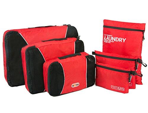 NEXTOUR 6pc Set imballaggio organizzatori-3Cubi di Imballaggio e digitale Accessori Pouch Toiletry Bag Borsa per valigia da viaggio Nuova versione rosso Red
