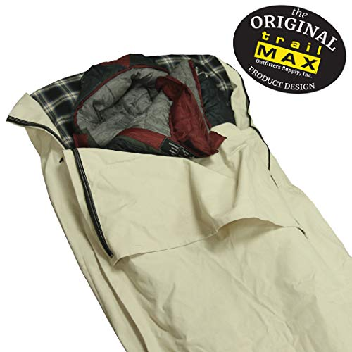 TrailMax Canvas Cavalry-Style Cowboy Bedroll, Premium Lined Sleeping Bag Cover, Highly Water-Resistant 12 Oz Treated Canvas, Comfy Flannel Liner, Perfect for Winter Camping, Sleeping Under The Stars