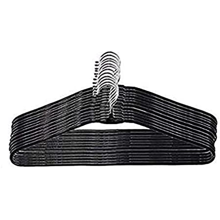 M2 Look Black Heavy Stainless Steel Cloth Hanger with Plastic Coating (Set of 20)