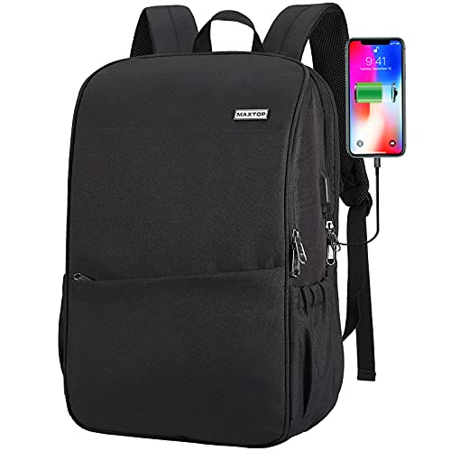 Deep Storage Laptop Backpack with USB Charging Port[Water Resistant] College School Computer Bookbag Fits 16 Inch Laptop (17 inch, Black)