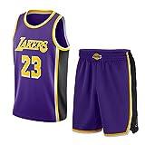 Conjuntos de Jersey de Baloncesto James 23# Lakers, Kits de Chaleco de Fitness sin Mangas de Verano para fanáticos de Malla Tops Transpirables de Secado rápido (S-XXL)-Purple~Sets-XXL