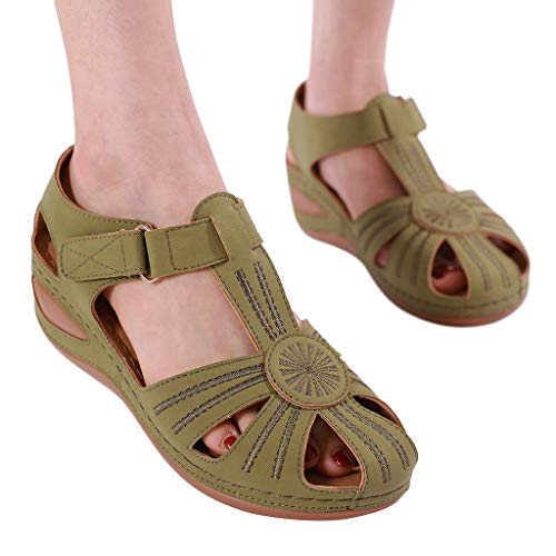 Buy kaifongfu Womens Girls Dress Sandals Comfortable Hollow Out Round Toe Sandals Soft Sole Shoes(Green,42)