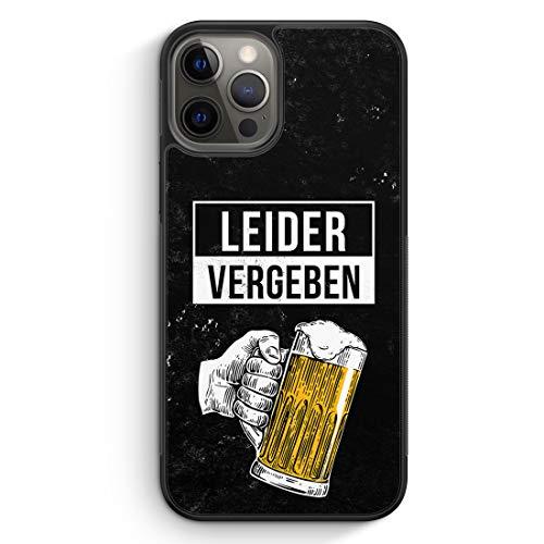 Leider Vergeben Bier - Silikon Hülle für iPhone 12 Pro - Motiv Design Cool Witzig Lustig Spruch Zitat Jungs Männer Herren - Cover Handyhülle Schutzhülle Case Schale