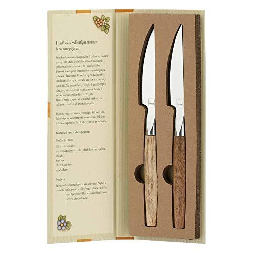 THUN - Set 2 coltelli per Carne con Confezione a Libro - Linea Country - Acciaio Inox, Legno d'Acacia