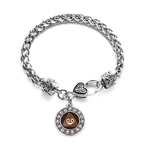 Inspired Silver - Poop Emoji Braided Bracelet for Women - Silver Circle Charm Bracelet with Cubic Zirconia Jewelry