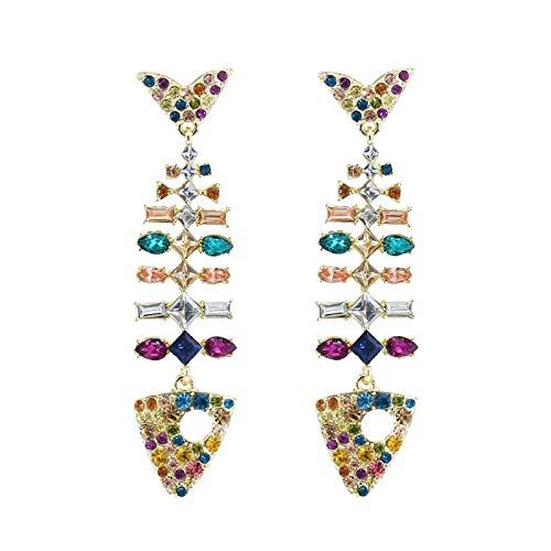 Necklaces & Pendants, Colorful Crystal Fishbone Diamond Earrings Fashion Exaggerated Long Earrings, for Christmas Day (B)