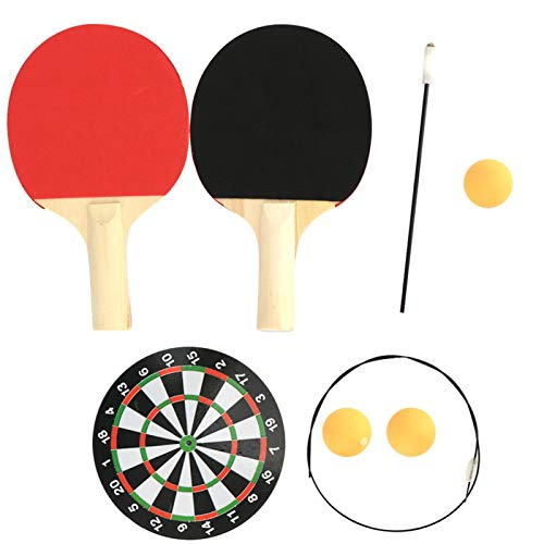 Shipenophy Equipo de entrenamiento de tenis de mesa de caña suave elástico para interiores y ping-pong resistente al desgaste para deportes (raqueta de madera ajustable con poste de base de metal)