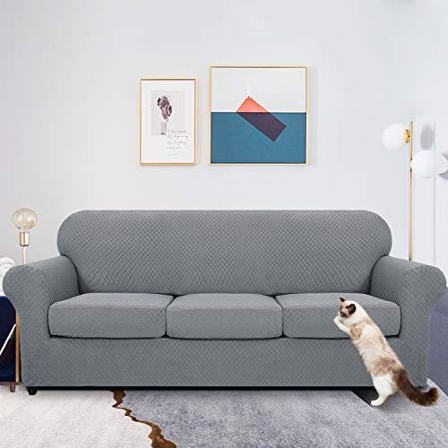 MAXIJIN 4 Piezas más Nuevas Fundas de sofá para 3 plazas elástico Antideslizante Funda de sofá para Perros elástico Jacquard Protector de Muebles Fundas de sofá (3 plazas, Gris Claro)