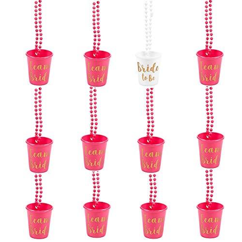 Orgrimmar - 12 collares de plástico con cuentas para novia, diseño de novia, color rosa y blanco con fuente de oro, perfecto para despedidas de soltera, fiestas, bodas