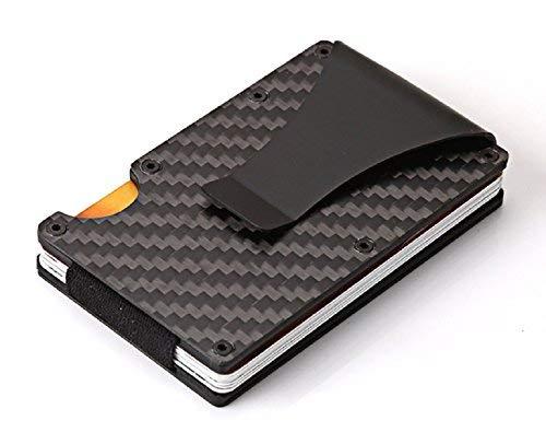 マネークリップ付 クレジットカードケース カードホルダー 名刺入れ カーボン RFID機能 磁気防止 カード収納 薄型 男女兼用