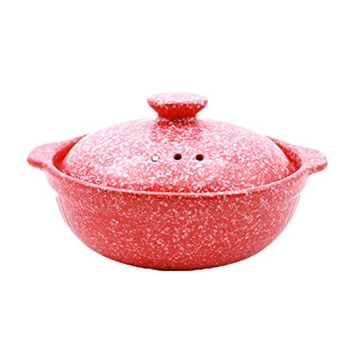 Classic Round Saucepan with Lid Household Red Clay Pot with Convenient Insulated Handle 1.5L 2.1L (Size: 2.1L)
