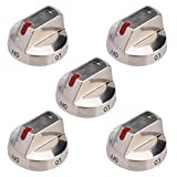 5 Pack DG64-00473A Burner Dial Knob Range Oven Replacement Stainless Steel for Samsung NX58F5700WS NX58H5600SS NX58H5650WS NX58J7750SS NX58M6850SS NX58K7850SS Gas Range Replace AP5917439 PS9606608
