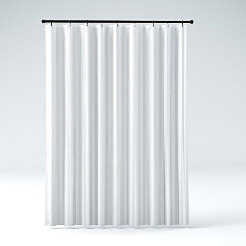 BBFhome ourlet lesté Résistant à la moisissure Lavable polyester rideau de douche liner, élégante bande de damas blanc, pas de PVC, taille standard (120 x 180 cm)