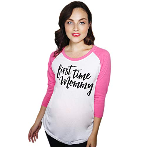 Maternity Raglan First Time Mommy Cute Mothers Day Baseball Tee (Pink) - M
