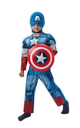 Rubie's IT610262-M - Costume deluxe per travestimento da Capitan America, Bambini, M (5-6 anni)