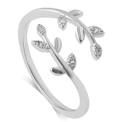 Chagoo Grow Through What You Go Through Ring for Women, Adjustable Leaf Ring Open Ring Jewelry Gift (Silver)