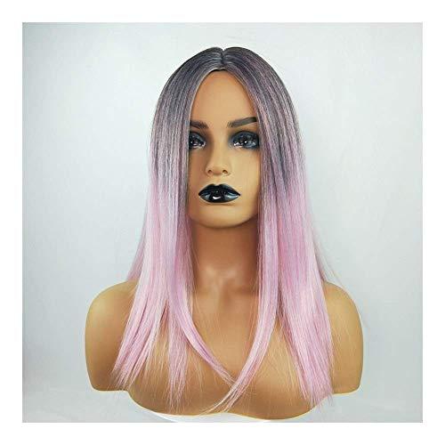 ZMHVOL Pelucas para Mujer Larga Recta Pelo Negro gradiente de Color luz de Peluca de Color (Color: Rosa) ZDWN (Color : Pink)