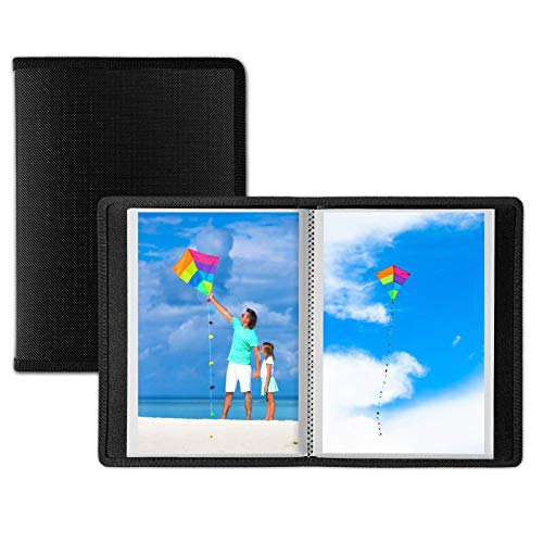 Dunwell Small Photo Album 4x6 - (Black, 2 Pack), 24 Pages Hold 48 Pictures, 4x6 Portfolio Folder for Artwork, Great Art Book for Postcards or Picture Storage, Photo Book for 4 x 6 Pictures