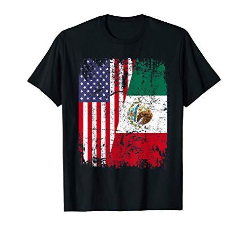 MEXICAN ROOTS TSHIRT | Half American Flag | MEXICO SHIRT