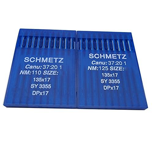 Schmetz 135X17 DPX17 SY3355 - Agujas de coser industriales en caja de plástico transparente CKPSMS compatible con/reemplazo para marca JUKI Brother Brand Singer (tamaño de la aguja: DPX17 21/130)