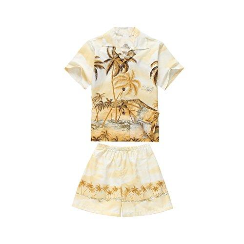 Hecho en Hawaii Luau Aloha Camisa y Pantalones Cortos Chico Juego de Cabana Amarillo del Borde de la Palma 4